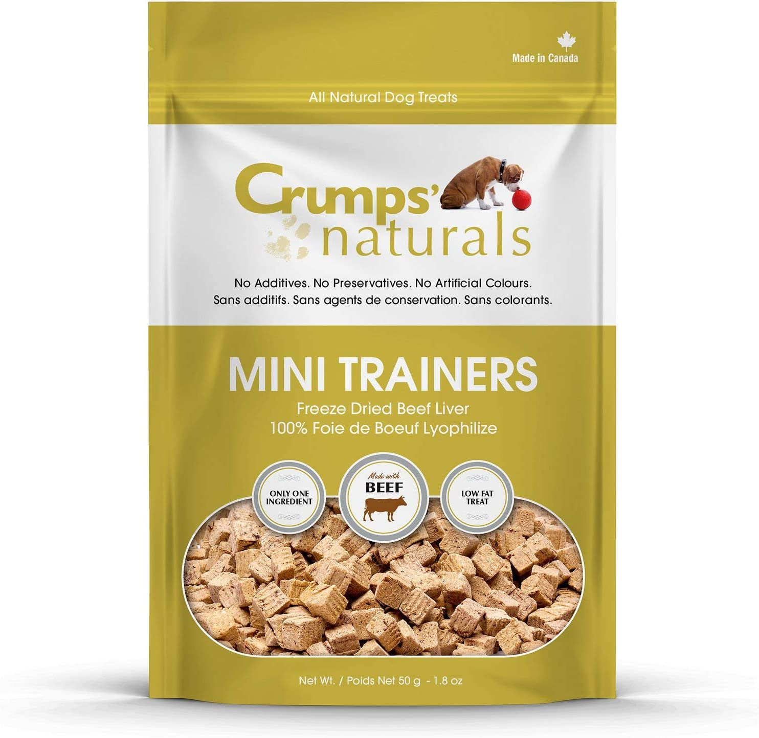 1 Pack Crumps Naturals Mini Trainers Freeze Dried Beef Liver 3 Pack 50g//1.8 oz