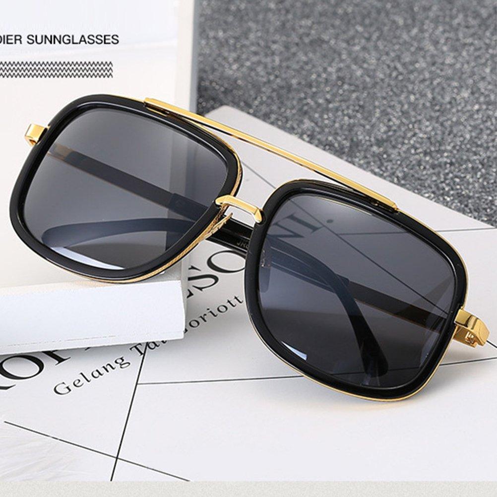 Black Franwork with Grey-Changing Lens Tinksky Square Mirror Sunglasses Metal Frame Flat Top Vintage Sunglasses Women Men Glasses