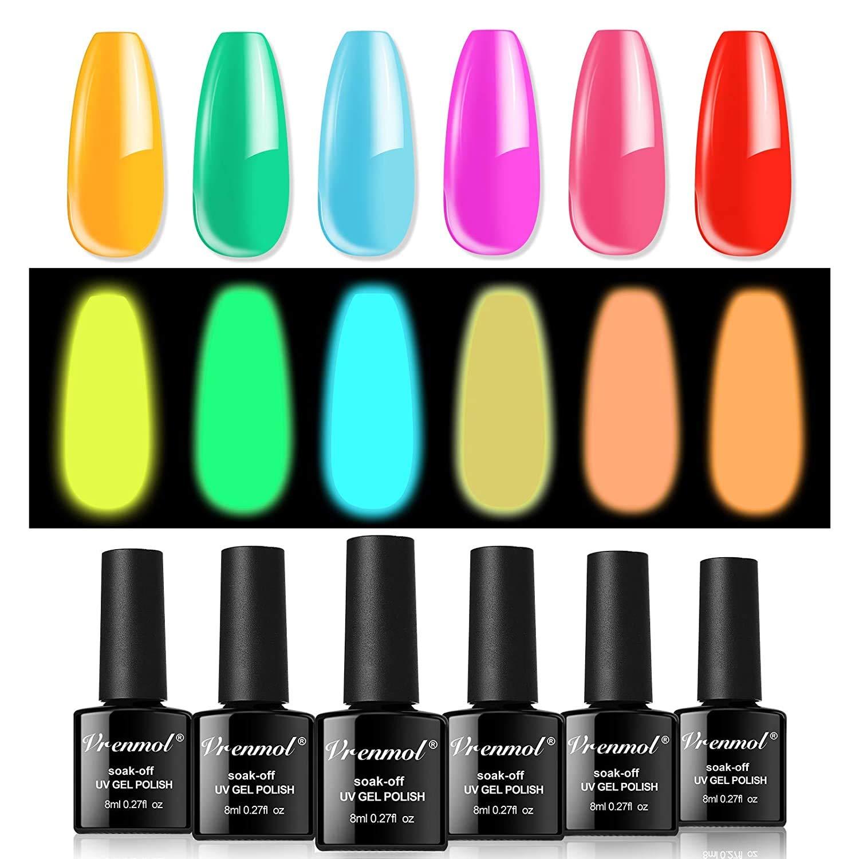 Vrenmol Glow in The Dark Gel Nail Polishes Luminous Neon Gel Nail Polish Set Fluorescent Bright Shellac Gel Polish UV LED Nail Art Kit 6pcs 8ml (Luminous 6pc/set1)