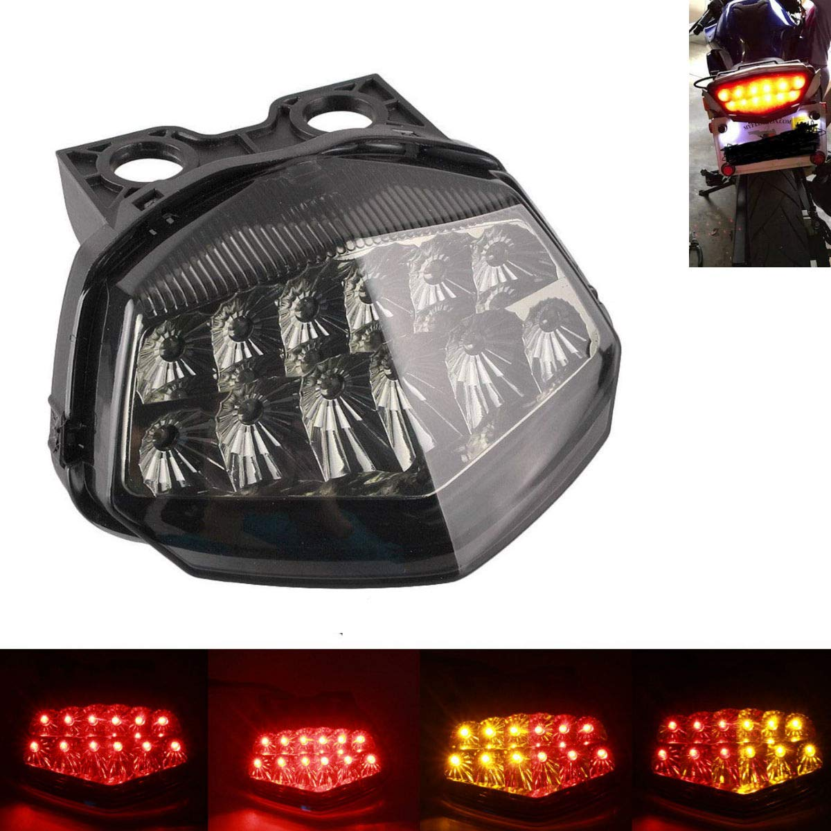 MZS Tail Light Turn Signal LED Integrated Blinker for Kawasaki Ninja 250R Ninja250R EX250 2008 2009 2010 2011 2012 Smoke