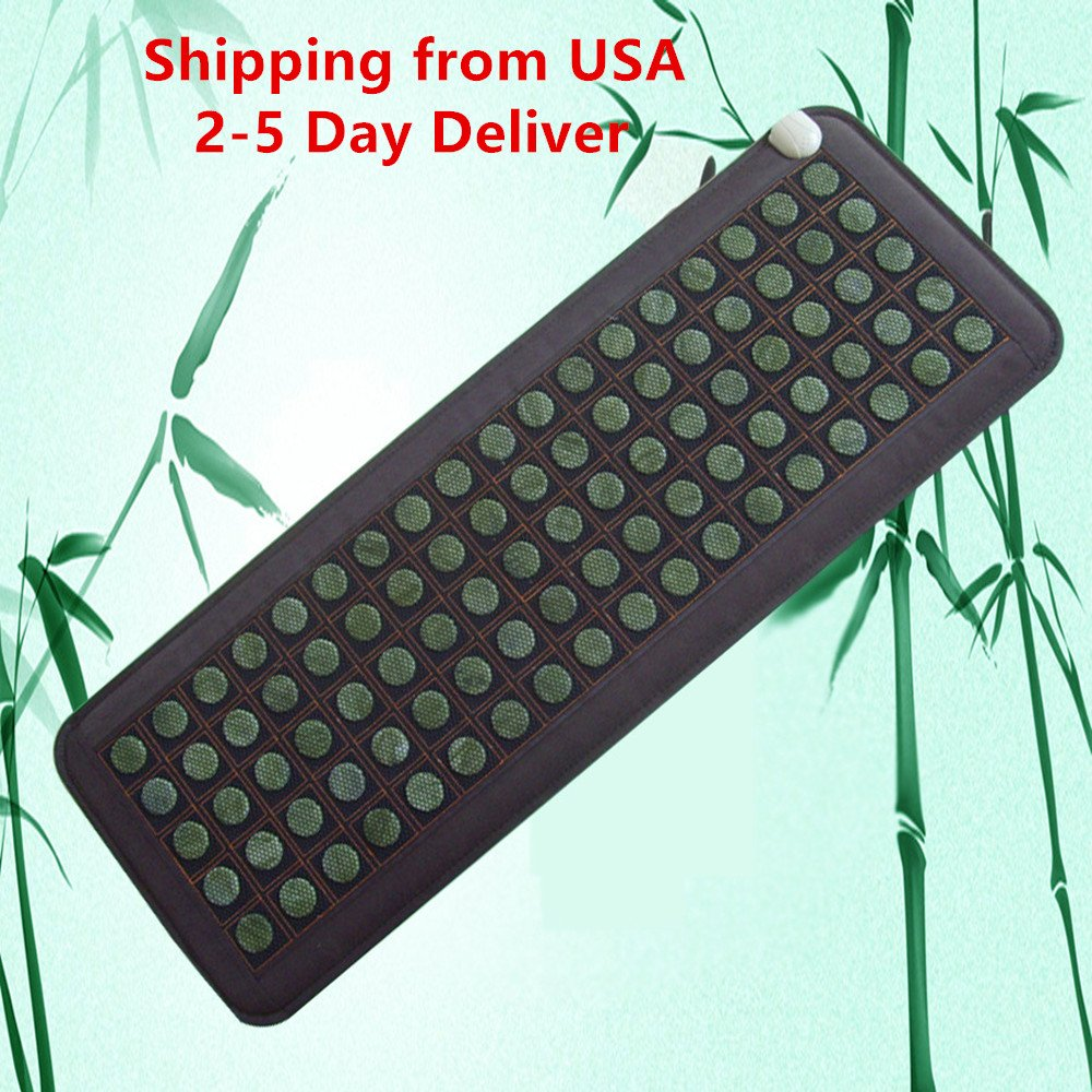 Funwill Shipping from USA Natural Jade Tourmaline Stones Infrared Heating Massage Therapy Mattress Mat Surface Promote Blood Circulation and Sleep Improve Memory Portable Fight Sickness and Disease