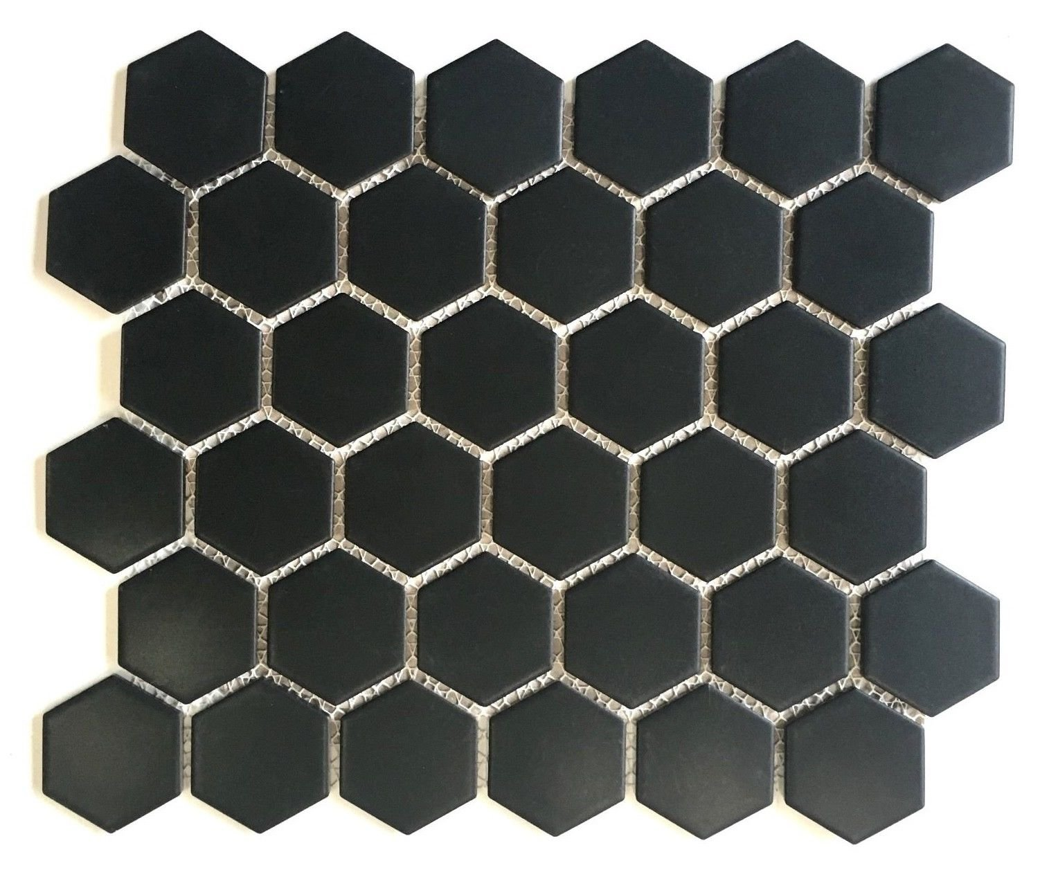 Black Hexagon 2'' Matte Porcelain Mosaic Floor and Wall Backsplash Bath Kitchen 10 Pack Box