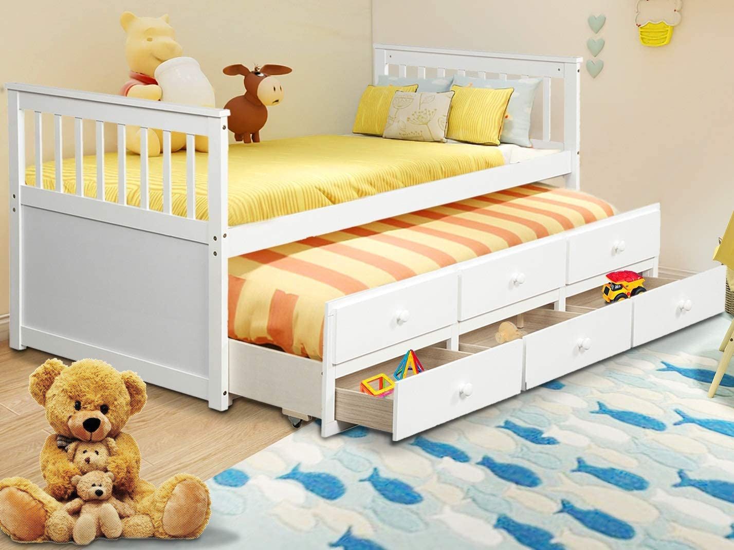 Danxee Twin Captain's Bed Storage Daybed