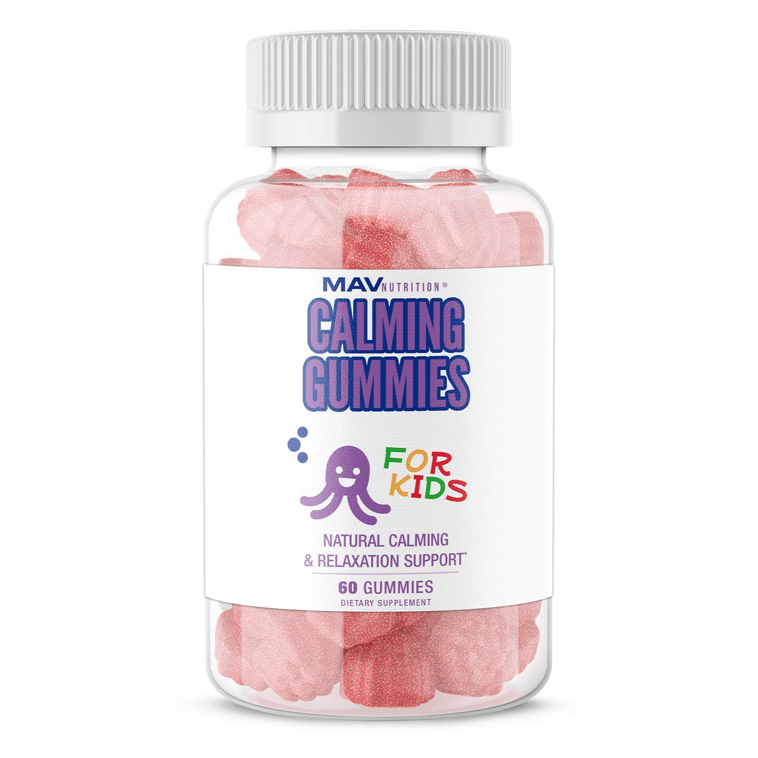 MAV NUTRITION Kids Magnesium Gummies, with a Calming Herbal Blend | for Sleep Support and Anxiety Relief | Promotes a Natural Wake and Sleep Cycle | Non-GMO, 50mg of Magnesium per Serving, 60 Gummies