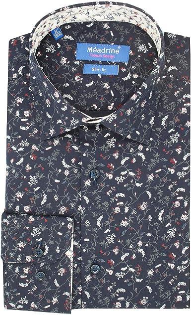 Meadrine - Camisa para hombre con flores Negro M: Amazon.es: Ropa y accesorios