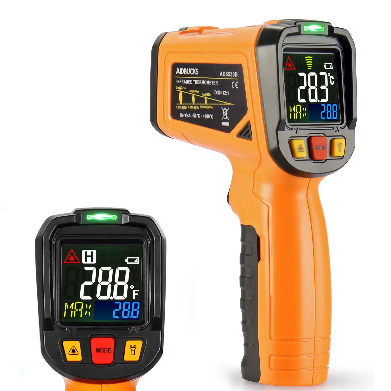 Termómetro infrarrojo Janisa sin contacto, con pantalla en color, temperatura de - 50 a + 800 °C, con apertura de 12 puntos, función de alarma
