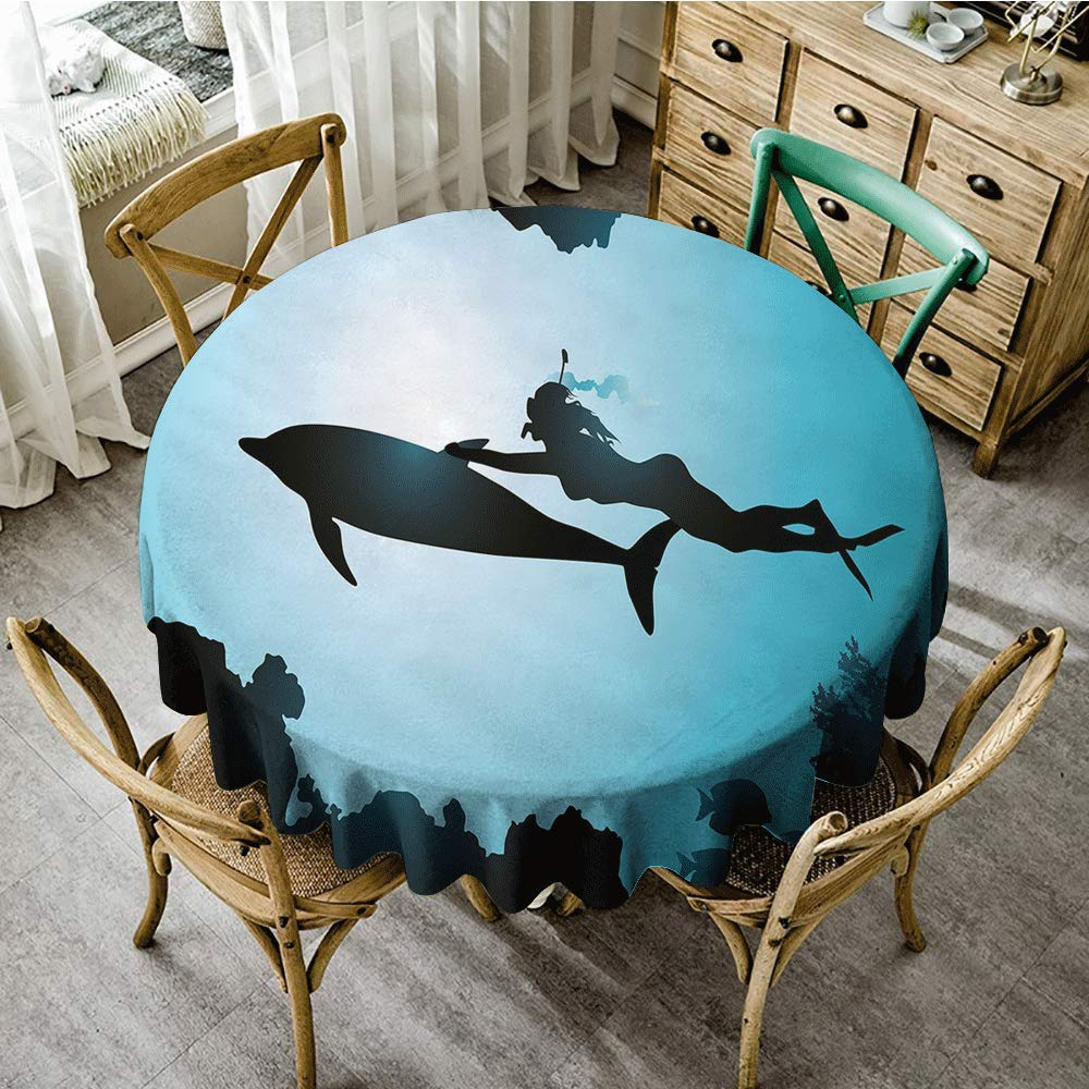 Oncegod Restaurant Tablecloth Dolphin Scuba Diver Girl Swimming with Dolphin Silhouette in Sea Fish Reefs Image Picnic, D67 inch, Pale Blue Black by Oncegod