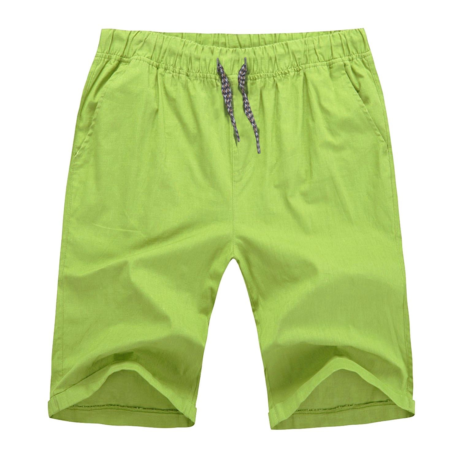 Hat and Beyond to Mens Flat Front Summer Shorts Casual Twill Classic Fit (X-Large, 7 Lime)