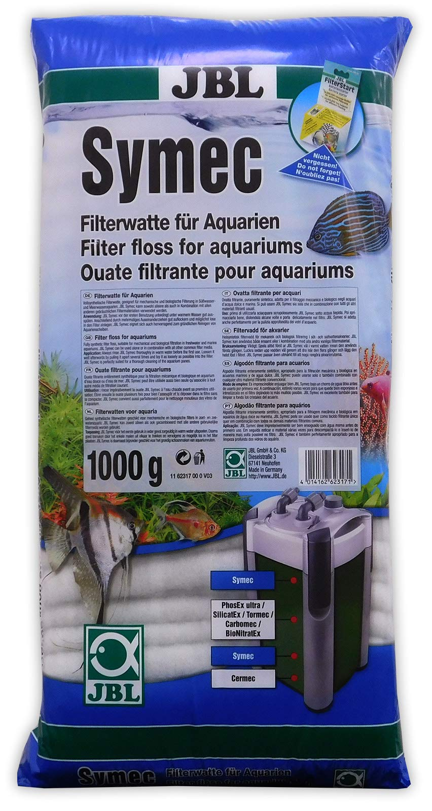JBL Symec Ouate filtrante 1000g, Ouate filtrante pour filtre d'aquarium contre toutes les turbidités de l'eau product image