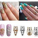 Lefox 20pcs 3d Hollow Nail Art Gold Silver Alloy Decoration Jewelry Glitter Rhinestone #33