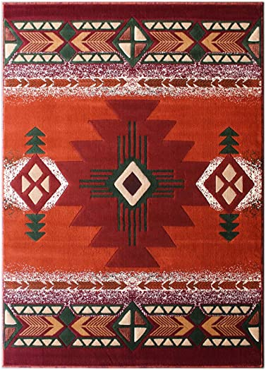South West Area Rug Design Concord C318 Rust 5 Feet X 7 Feet
