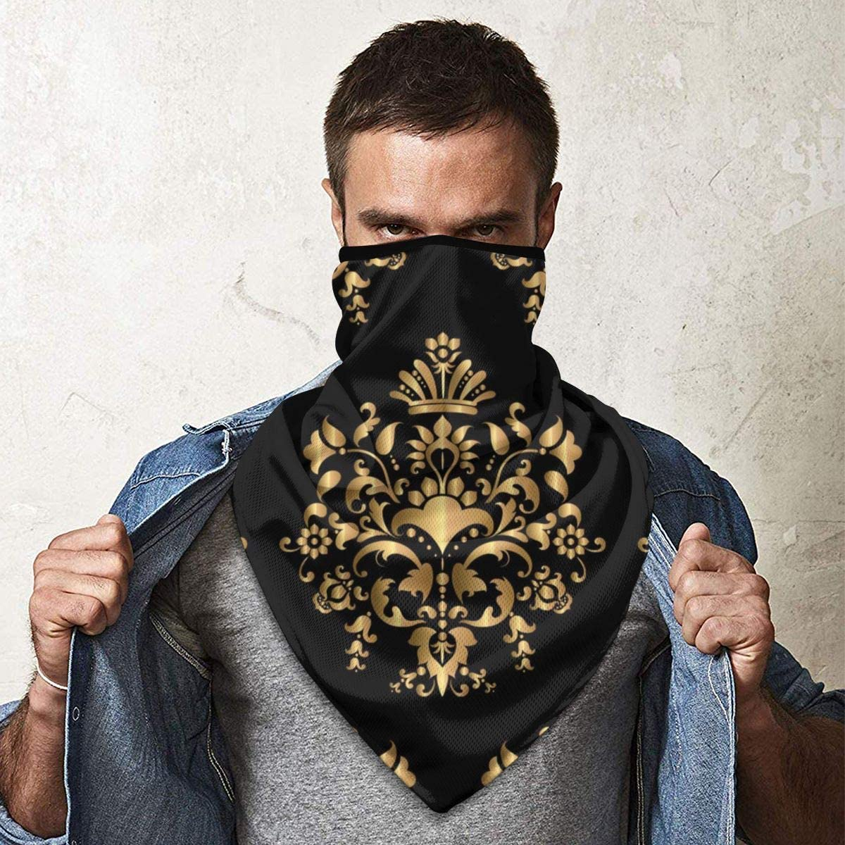 Luxury Seamless Golden Pattern Vector Image Neck Gaiter Dust Sun Protection Face Cover Balaclava Sports Headwear Works As Scarf Headband Bandana Face Mask