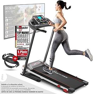 Sportstech F10 Cinta de Correr Modelo 2020 - Marca Alemana de Calidad + Video Eventos y App multijugador - Nueva Consola - | 1HP a 10 km/h | Cinta de Andar con 13 programas, inclinable + Plegable