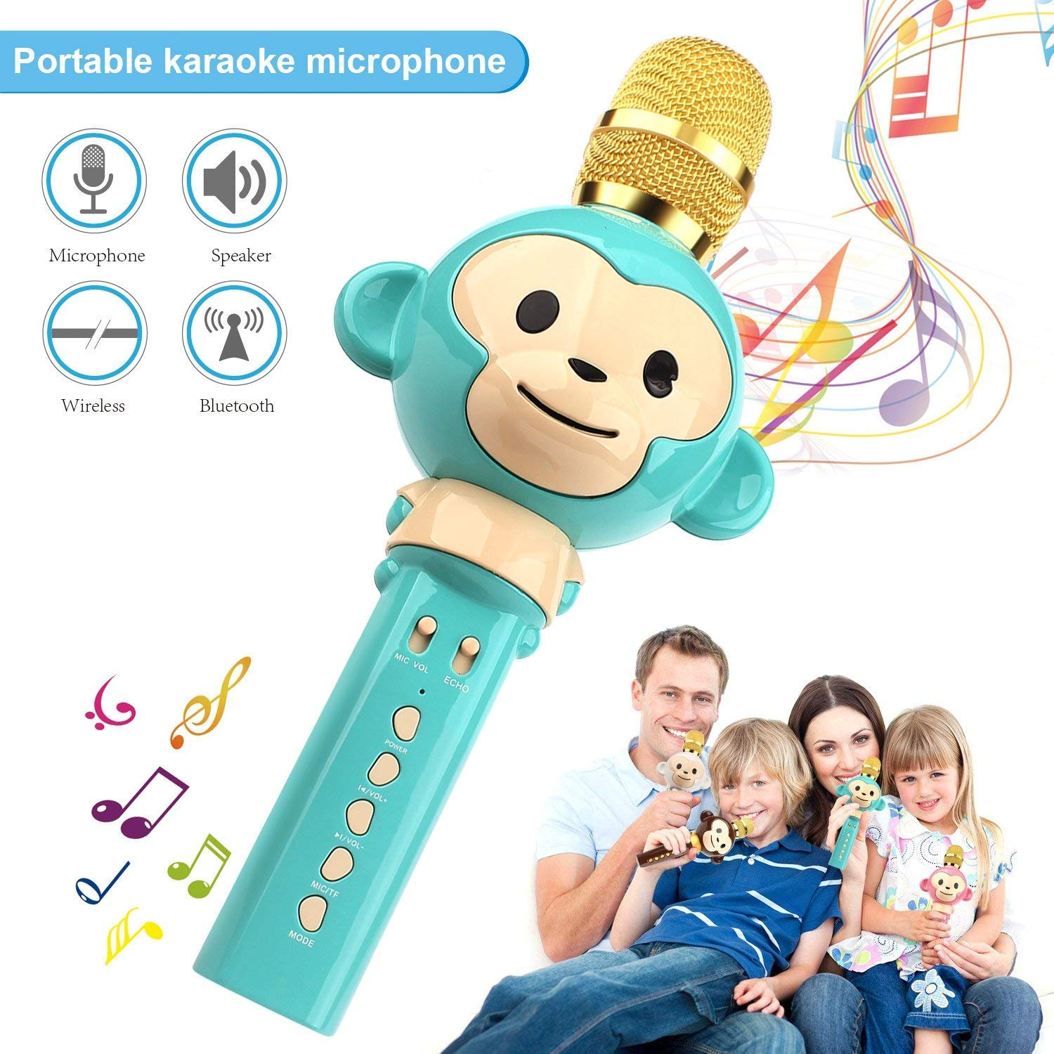 LingHui Kids Microphone Wireless Bluetooth Karaoke Microphone , 3-in-1 Portable Handheld Karaoke Mic Home Party Birthday Speaker Machine for iPhone/Android/iPad/Sony,PC and All Smartphone (Green)
