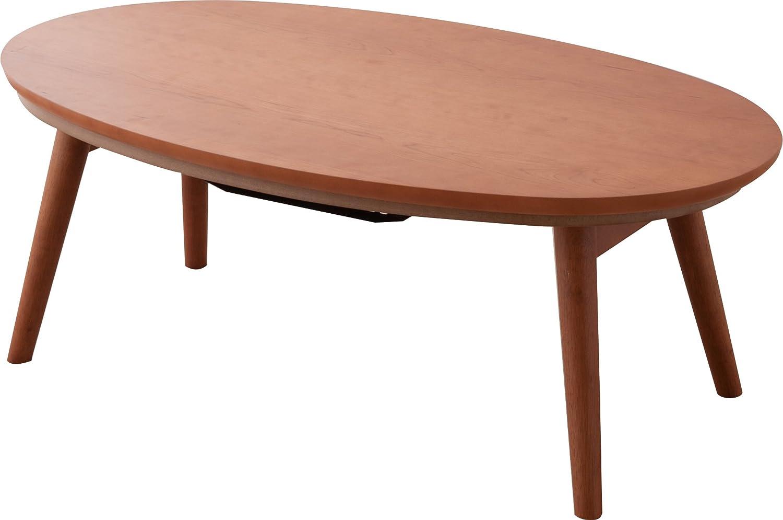 エムール 折り畳みこたつテーブル 【国産ヒーター付き】 オーバル 楕円形 105×60×38cm チェリー突き板 B077P9DXTC 楕円形|チェリー チェリー 楕円形