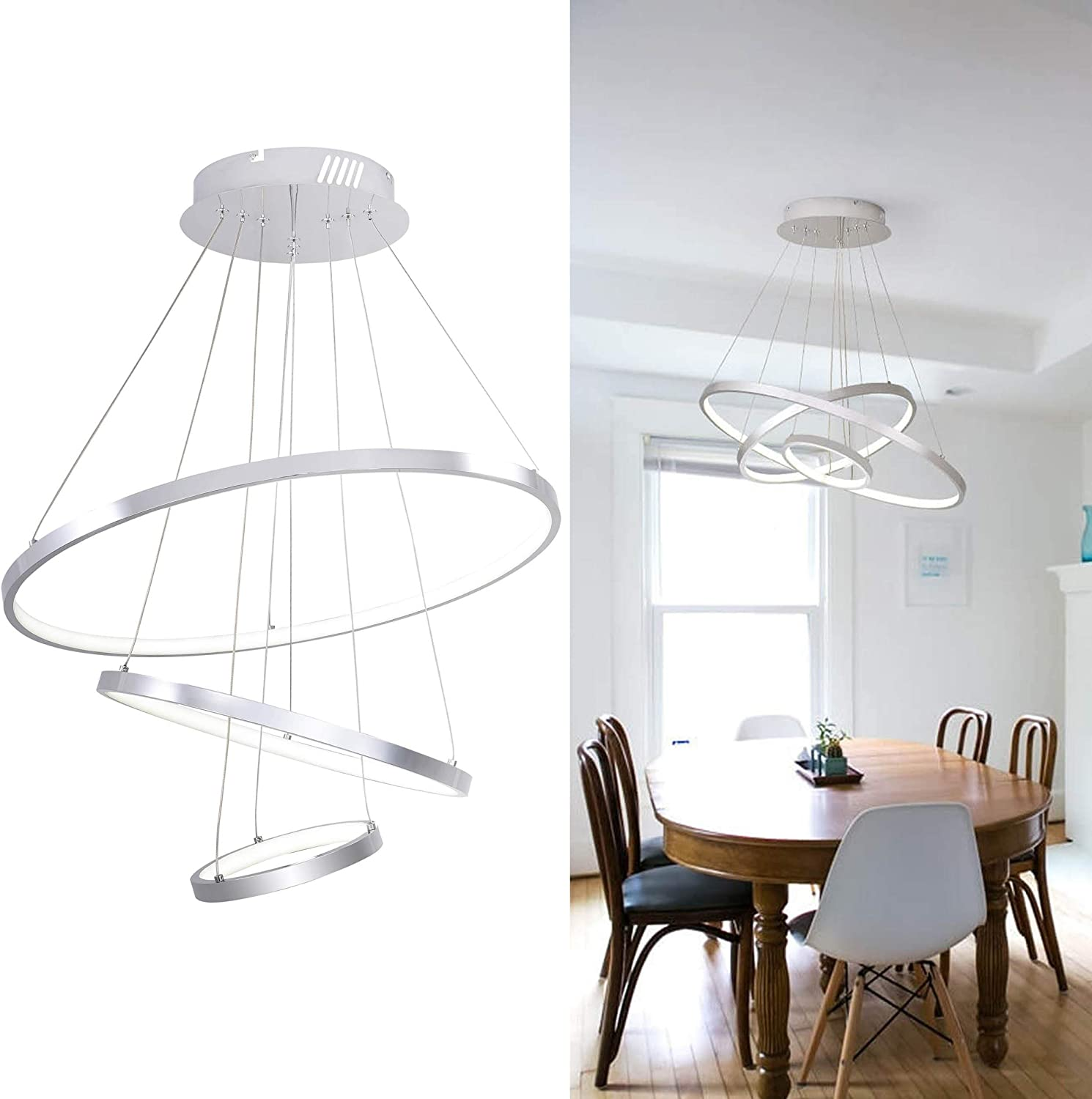 Modern Led Chandeliers For Dining Rooms 60w Super Bright Ceiling Hanging Light Fixtures For Dining Living Room White Wire Drawing Finish Flush Mount Height Adjustable Amazon Com
