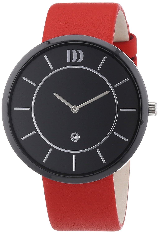 Danish Design 3314445 - Reloj analógico de cuarzo unisex, correa de cuero color rojo