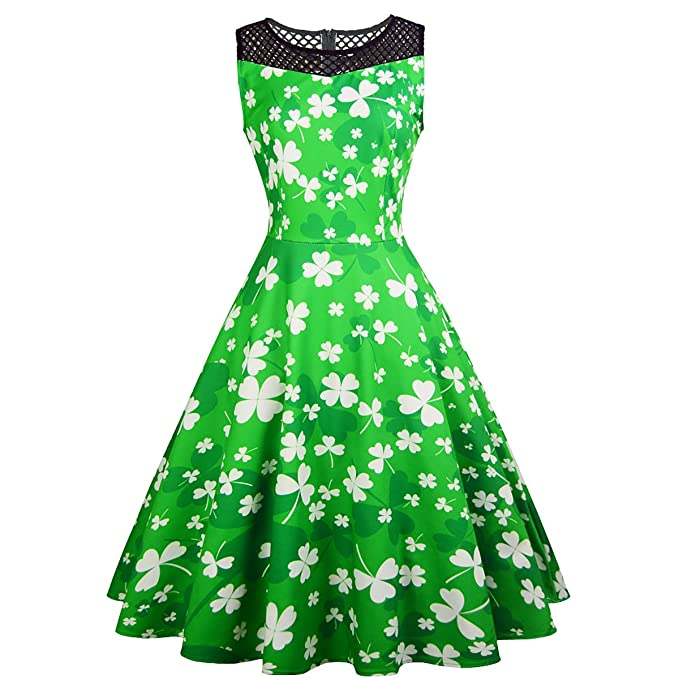 433575653487 Patrick's Day Dress 1950s Halter Vintage Swing Party Green Dresses at  Amazon Women's Clothing store: