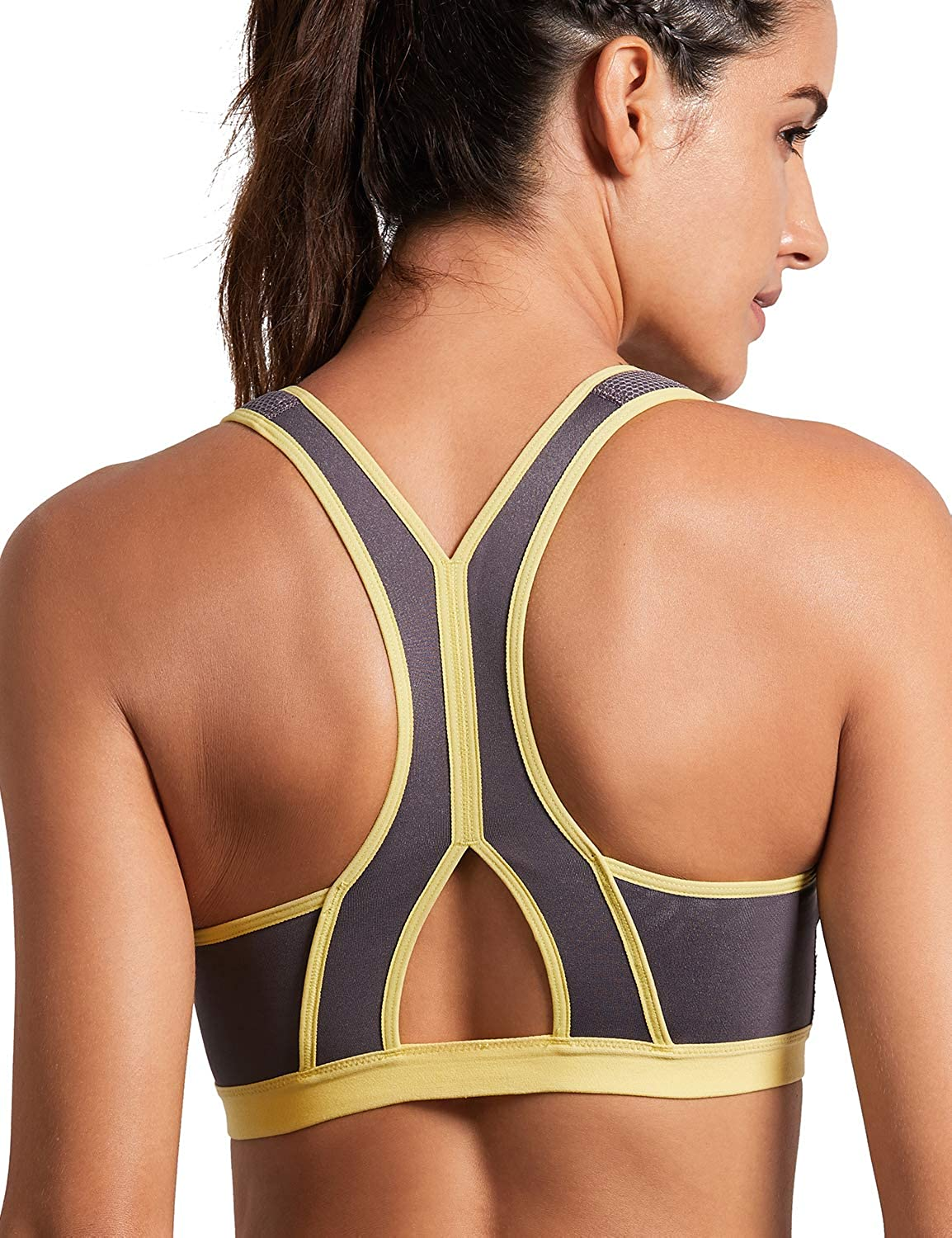 SYROKAN Women's High Impact Zipper Front Closure Wirefree Non Pads Workout Sports Bra