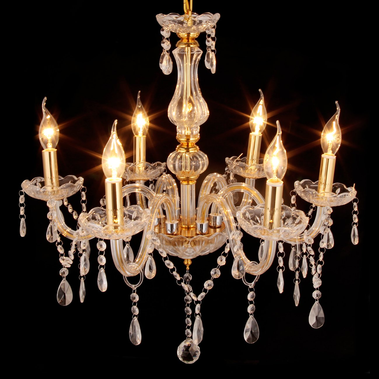 Ridgeyard 6 Lights Crystal Chandelier Modern 6 Arms Candle Chandeliers Living Room Lighting Ceiling Fixture Pendant Lamp H23.6'' x W23.6'' (Gold)