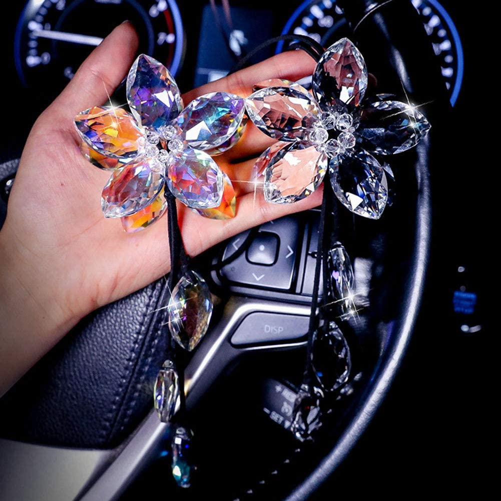 Multicolor ALOTEX Bling Car Interior Accessories for Women Bling Car Decoration Sun Catcher Crystal Ball Car Rear View Mirror Charms Decor,Hanging Bling Mirror Pendant Car Accessories