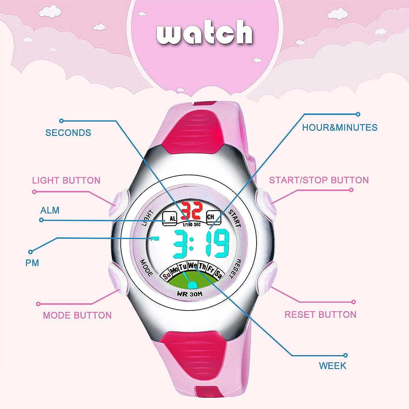 Las niñas de los relojes digitales, Kids 3 ATM impermeable de los deportes reloj con alarma, adolescentes para niños al aire libre deporte electrónico ...