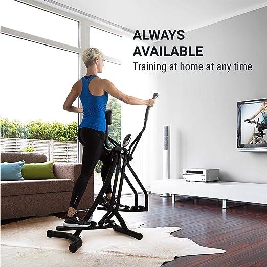 Klarfit Bogera X Máquina de Correr elíptica con Ordenador • Bicicleta elíptica • Pantalla LCD • Acolchado Abdominal Regulable • Plegable • Resiste hasta 100 ...