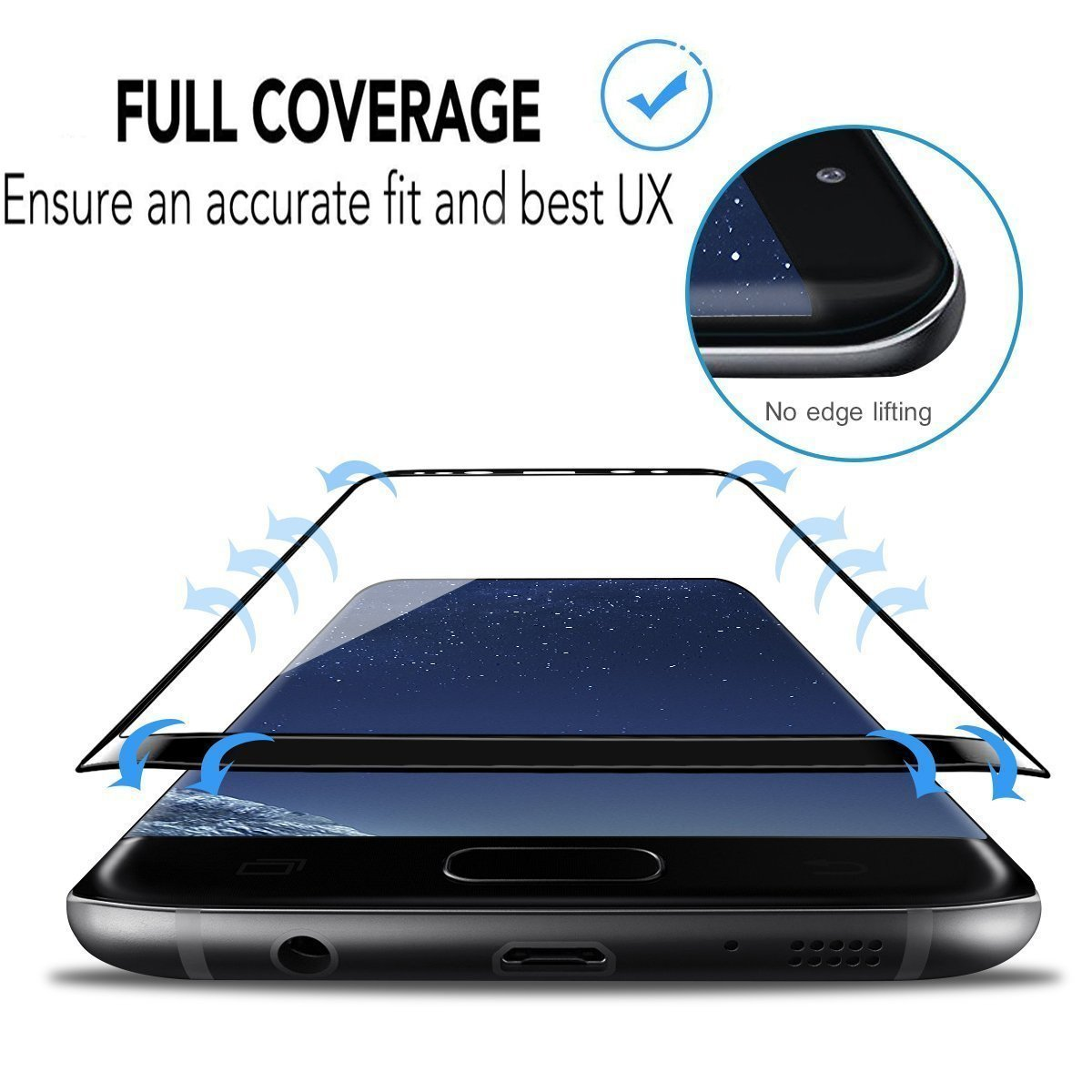 LEDitBe Galaxy S9 Screen Protector, Full Screen Tempered Glass Screen Protector Film, Edge to Edge Protection Screen Cover Saver Guard for 3D 9H Hardness Samsung Galaxy S9 Black by LEDitBe (Image #4)