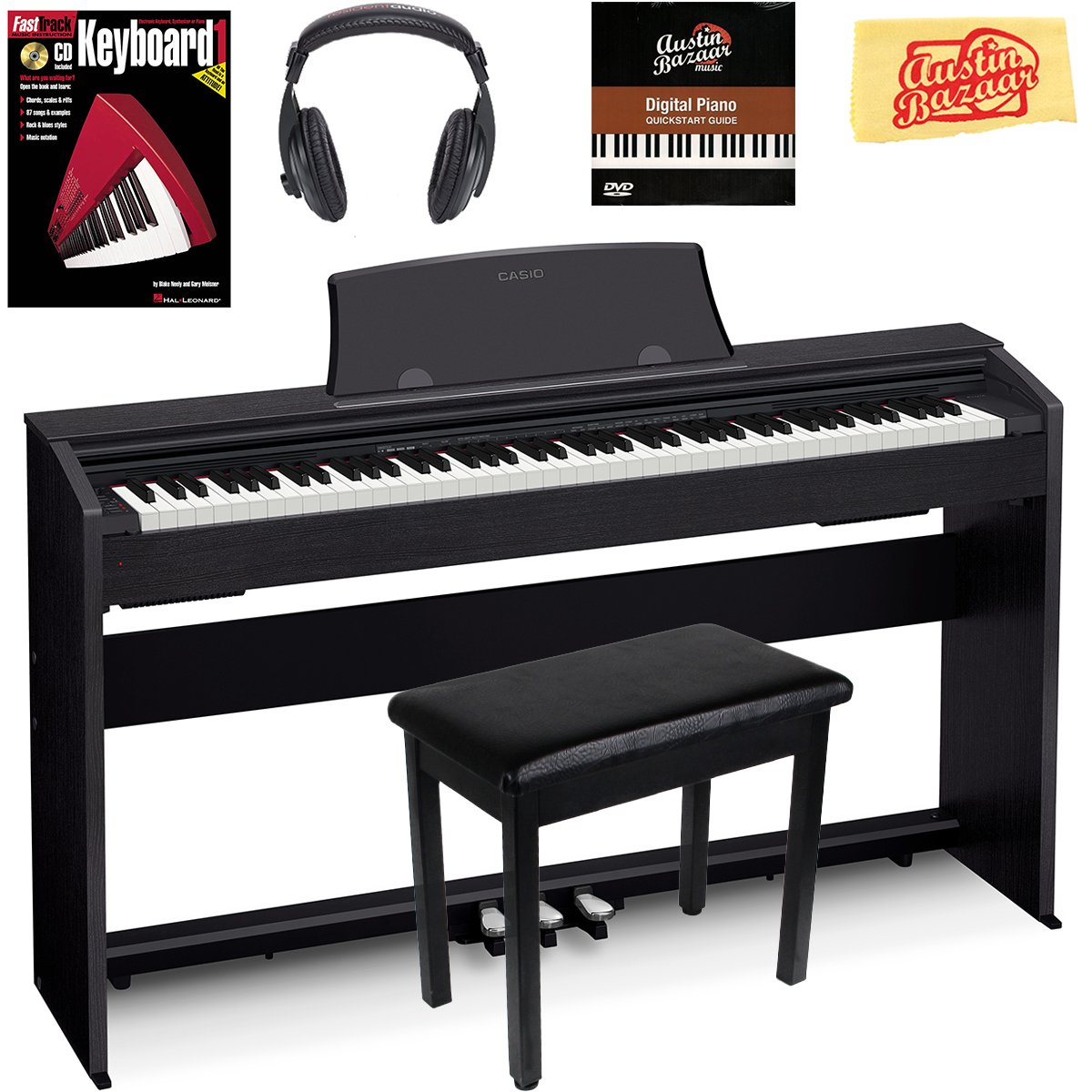 Casio Privia PX-770 Digital Piano - Black Bundle with Furniture Bench, Instructional Book, Austin Bazaar Instructional DVD, and Polishing Cloth