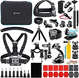 Artman Action Camera Accessories Kit 58-In-1 for GoPro Hero 8 Gopro MAX Gopro 7 6 5 Session 4 3+ 3 2 1 Black Silver SJ4000/ SJ5000/ SJ6000 DJI OSMO Action DBPOWER AKASO Xiaomi Yi APEMAN WiMiUS Lightdow