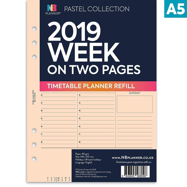 Nbplanner/® 2019/semaine sur deux pages Planner avec rendez-vous horaire A5/lign/é Planner recharge pour organiseur anglais Agenda 6/anneaux A5//à anneaux Compatible Insert menthe