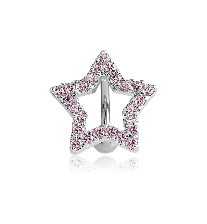 Star 14g Multiple Style Pupick Bellybutton Ring Body Piercing Jewelry Rhodium Plated Brass Jeweled Reverse Navel Banana