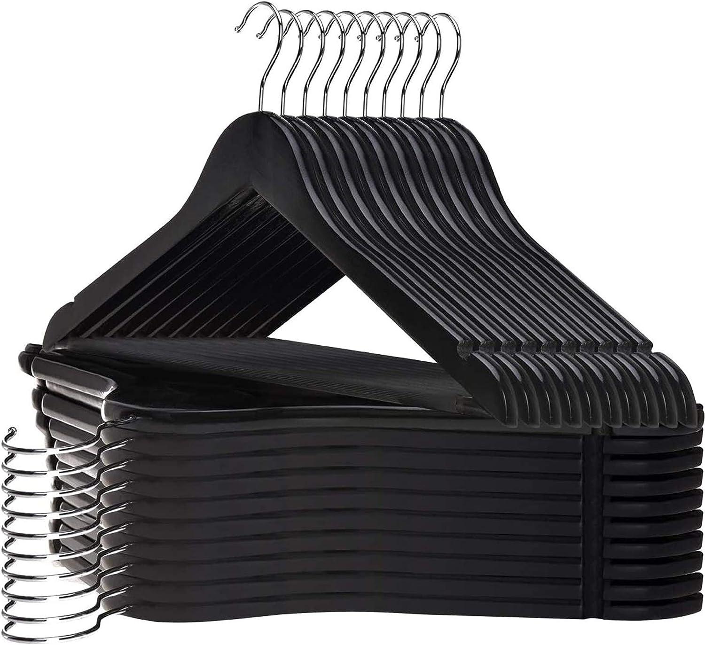 Set of 20 JS HANGER Coat Hangers Wooden Suit Hangers with Black Finish