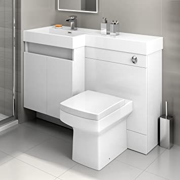 1200mm White Vanity Unit Square Toilet Modern Bathroom Sink Furniture Set  MV2794