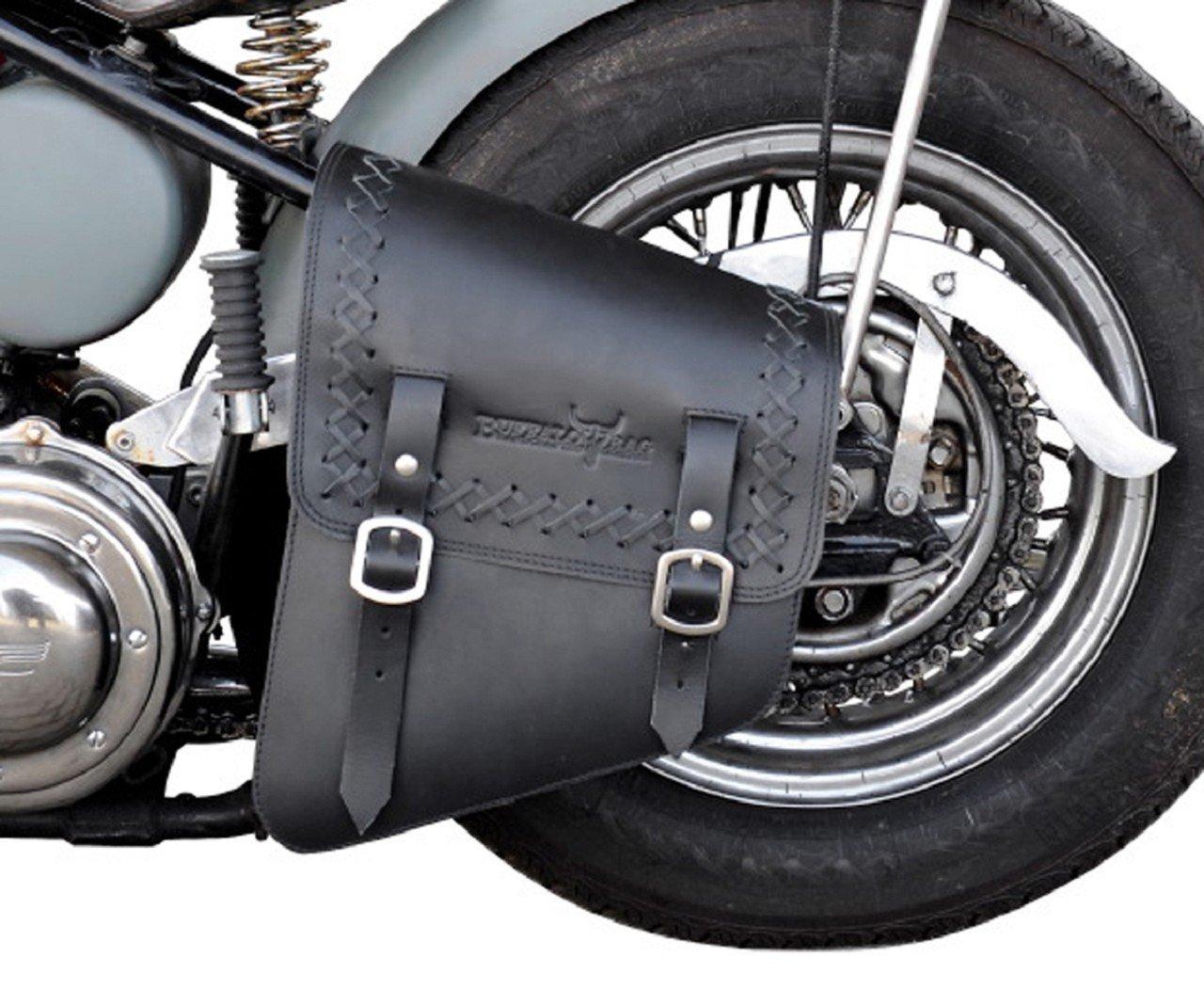 Rahmentasche 'Dallas' 11 Liter XL - schwarz linke Seite fü r Harley Davidson Softail z.B. Heritage, Springer, Night Train, Slim Buffalo Bag