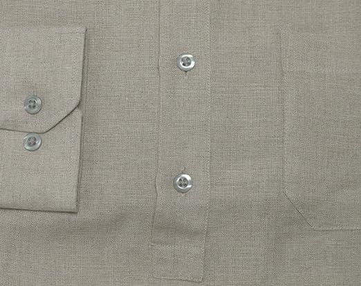 HUBER Leinen Schlupf-Hemd schwarz Stehkragen Wüsten-Shirt HU-0502 Regular Fit