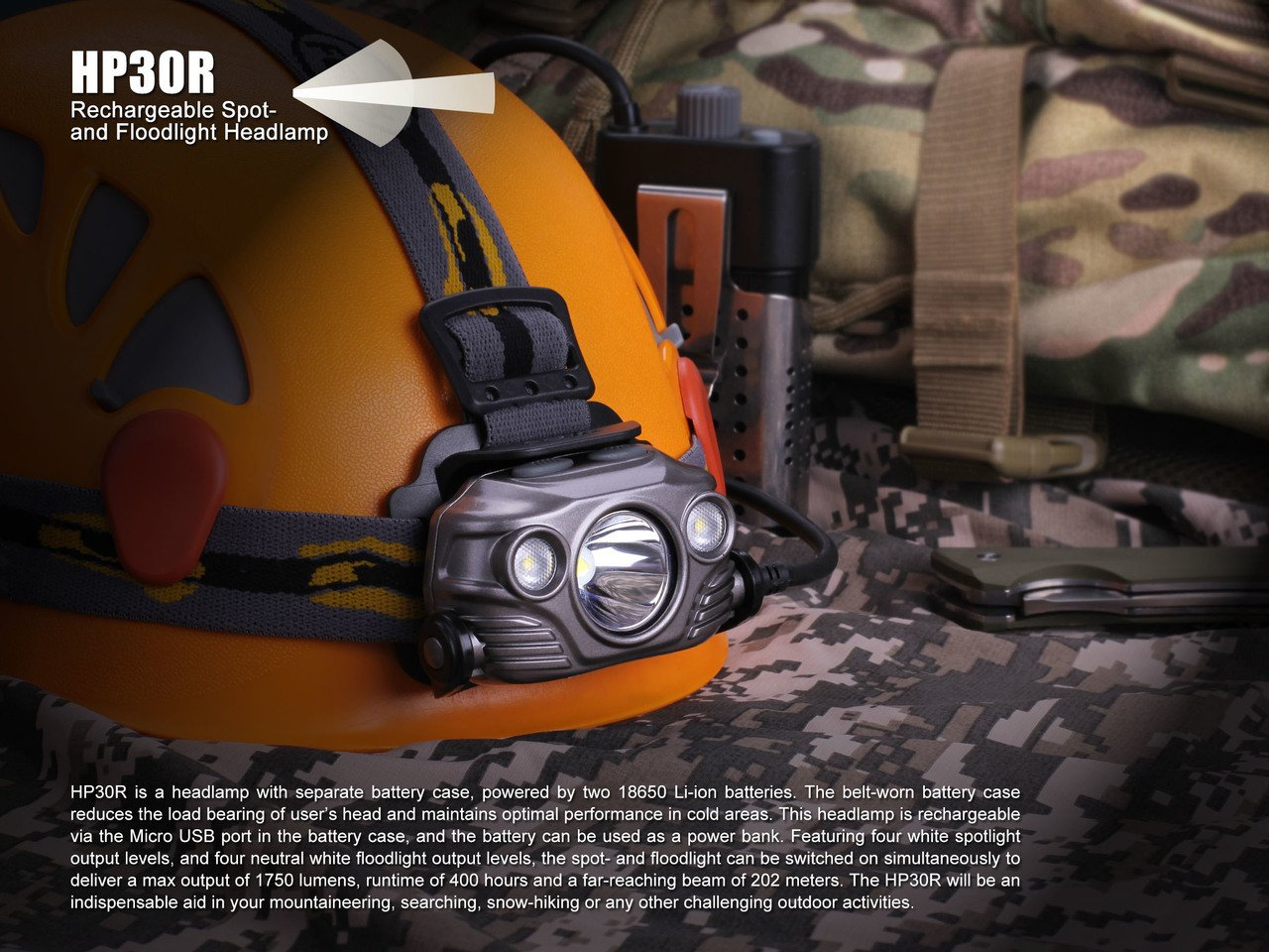 Fenix HP30R 1750 Lumen CREE LED Headlamp 2 X Fenix Li-ion rechargeable batteries and Four EdisonBright CR123A Lithium batteries bundle Black color body