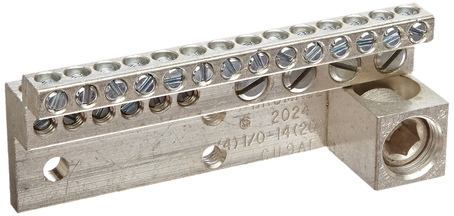 Neutral Bar and Neutral Assembly, 225A Neutral Bar, (20) 4-14 AWG 1/0-14 AWG Wire Range, 600VAC Voltage, 350 MCM - 6 Lug Size, 1.687'' Width, 1.525'' Height,, 4.457'' Length