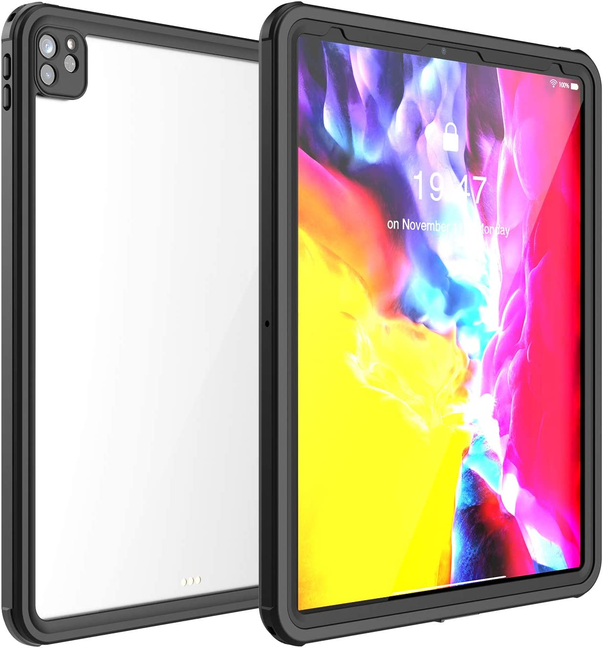Waterproof Case for iPad Pro 12.9 2020 4th Gen,Shockproof Drop Proof Protective Case Premium Quality Cover High Touch Sensitivity with Kickstand Hand Rope for Apple New iPad Pro 12.9 2020 (Black)