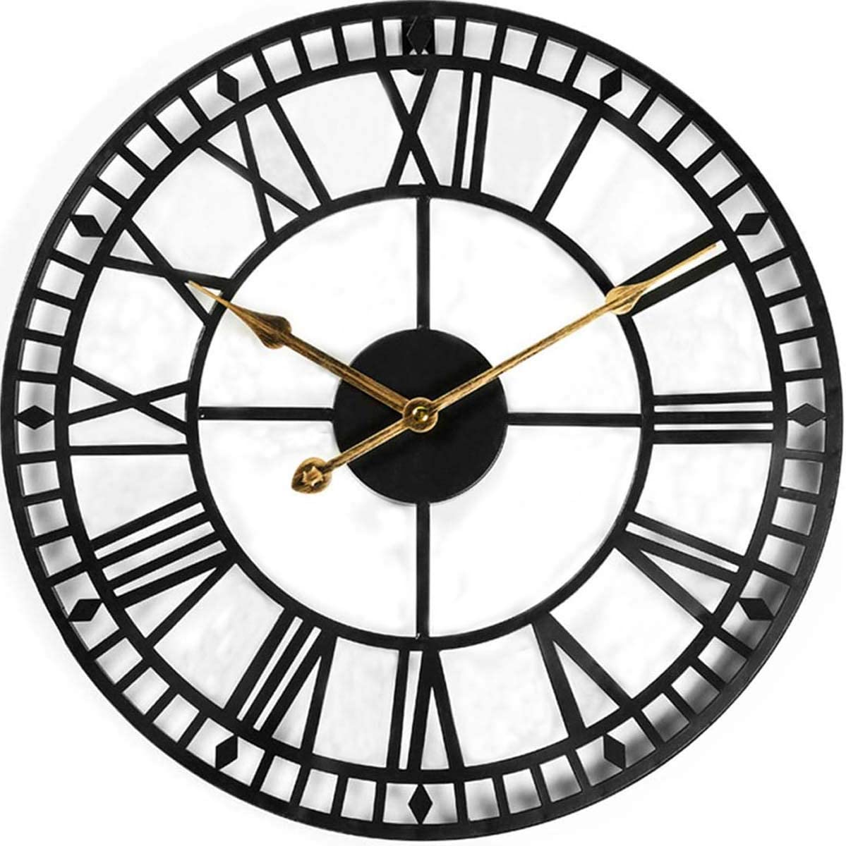 Evursua 24 Inch Large Metal Wall Clock Industrial Wall Art Decor Clocks,Silent Battery Operated,Solid Iron Skeleton,Big Roman Numerals,Antique Style