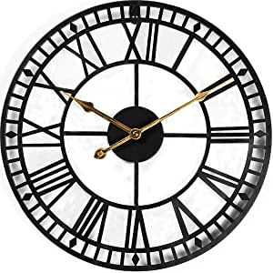 Evursua 24 Inch Large Metal Wall Clock Industrial Wall Art Decor Clocks Silent Battery Operated Solid Iron Skeleton Big Roman Numerals Antique Style Kitchen Dining Amazon Com
