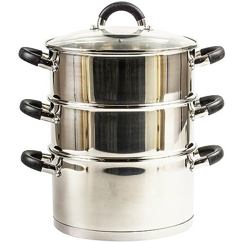 20Cm 3 Tier Stainless Steel Steamer Cooker Pot Set Glass Lid Kitchen Cookware