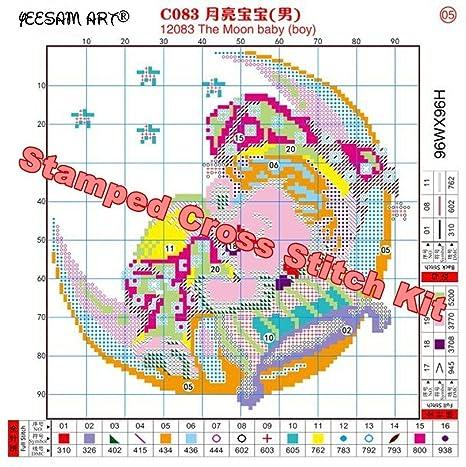 YEESAM Art nueva Kits de punto de cruz avanzada - la madre y hija bajo el paraguas - Needlework juego de bordado para regalos de Navidad hecho a mano: ...