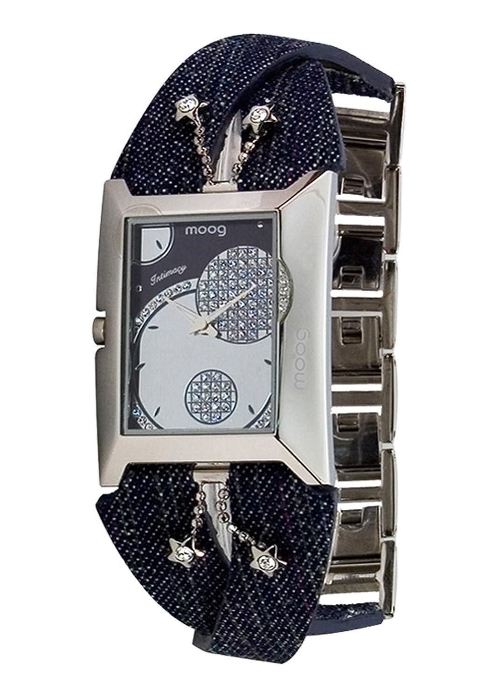 Moog Paris - Intimacy - Damen Armbanduhr - Silber Ziffernblatt - Armband schwarz aus Jeansstoff - - in Frankreich hergestellt -