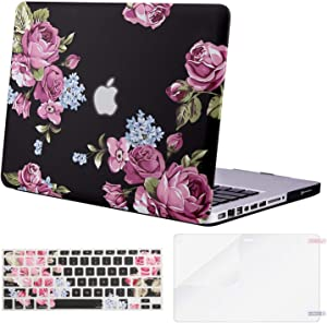 MOSISO MacBook Pro 13 inch Case A1278 Release 2012-2008, Plastic Pattern Hard Case & Keyboard Cover & Screen Protector Compatible with Old Version MacBook Pro 13 inch with CD-ROM, Purple Peony