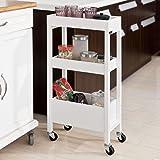 SoBuy® FKW49-W,Carrellino salvaspazio,carrellino per il bagno o cucina, portaoggetti su rotelle, IT