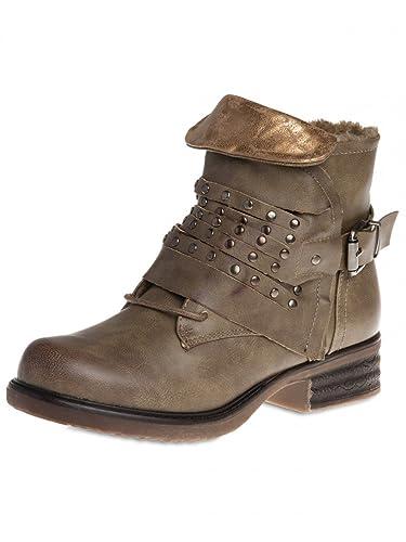 Chaussures à fermeture éclair Caspar Fashion noires femme m6qt9