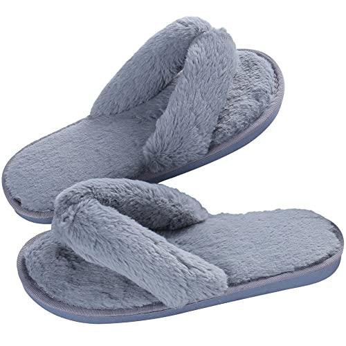 Women s Soft Spa Thong Slippers Plush Indoor Clog Flip Flops House Slipper  Grey e9d3e85ea4