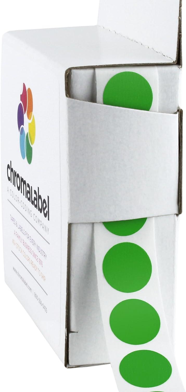 ChromaLabel 1/2 Inch Round Permanent Color-Code Dot Stickers, 1000 per Dispenser Box, Green