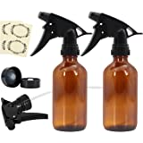 Glass Spray Bottles - 8oz, 2, Amber by Mavogel, with Black Trigger Sprayers for Essential Oils and Cleaning Products, 1 Extra Trigger, 2 Bottle Caps, 4 Bottle Labels Included